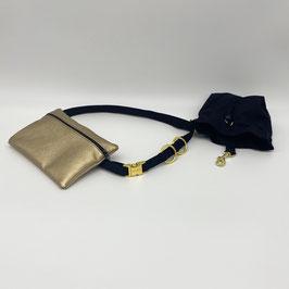 KOMPLETT SET goldene Verschlüsse - Gassigürtel schwarz + Gassitasche gold + Leckerliebeutel schwarz