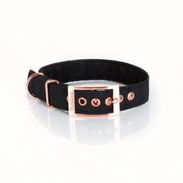 Halsband BLACK (Velourkunstleder) Dornschnalle