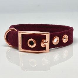 Halsband WEINROT (Velourstoff) Dornschnalle
