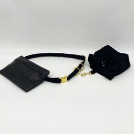 KOMPLETT SET goldene Verschlüsse - Gassigürtel schwarz + Gassitasche schwarz + Leckerliebeutel schwarz