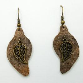 Bronze Boucles d'Oreilles FEUILLES Bronze