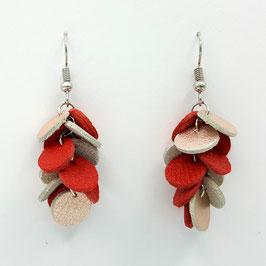 Boucles d'oreilles CONFETTIS Rose brillant et  Rouge clair
