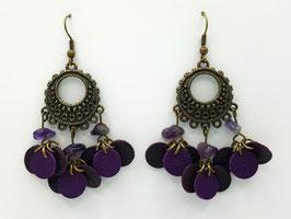 Prune, cuir Violet et Améthyste Boucles d'Oreilles FARANDOLES  Bronze
