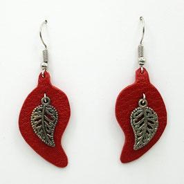 Rouge Boucles d'Oreilles FEUILLES Argenté