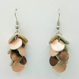 Boucles d'oreilles CONFETTIS Rose brillant et Bronze