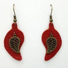 Rouge Boucles d'Oreilles FEUILLES Bronze