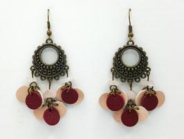 Quartz rose, cuir Rose Brillant et Framboise Boucles d'Oreilles FARANDOLES Bronze