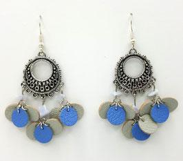 Agate dentelle bleue, cuir Bleu clair et Gris ClaircBoucles d'Oreilles FARANDOLES Argenté