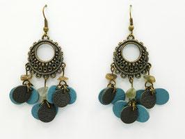 Labradorite, cuir Bleu gris et Kaki Boucles d'Oreilles FARANDOLES Bronze