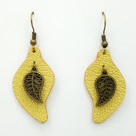 Jaune Boucles d'Oreilles FEUILLES Bronze