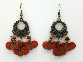 Jaspe Rouge, cuir Brique et Marron Boucles d'Oreilles FARANDOLES Bronze