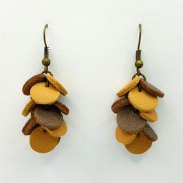 Boucles d'oreilles CONFETTIS Moutarde et Taupe