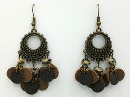 Jaspe Dalmatien, cuir Taupe et Taupe Foncé Boucles d'Oreilles FARANDOLES Bronze