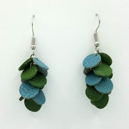 Boucles d'oreilles CONFETTIS Bleu gris et Vert