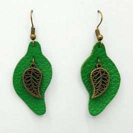 Vert  Boucles d'Oreilles FEUILLES Bronze