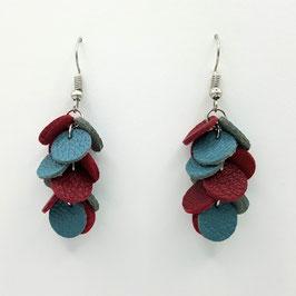 Boucles d'oreilles CONFETTIS Bleu gris et Framboise