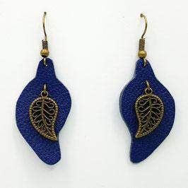 Bleu marine  Boucles d'Oreilles FEUILLES Bronze