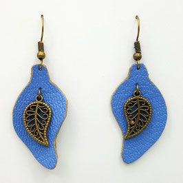 Bleu Clair Boucles d'Oreilles FEUILLES  Bronze