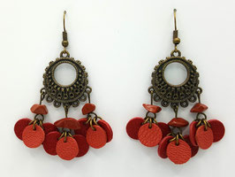 Jaspe Rouge, cuir Rouge et Brique Boucles d'Oreilles FARANDOLES  Bronze