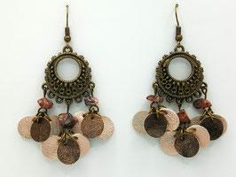 Jaspe Leopard, Cuir Rose Brillant et Bronze Boucles d'Oreilles FARANDOLES Bronze