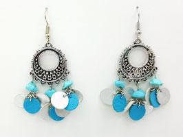 Turquoise, cuir Argenté et Turquoise Boucles d'Oreilles FARANDOLES Argenté