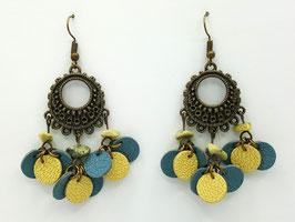 Turquoise jaune, cuir Bleu Gris et Jaune clair Boucles d'Oreilles FARANDOLES Bronze
