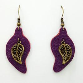 Violet Boucles d'Oreilles FEUILLES Bronze