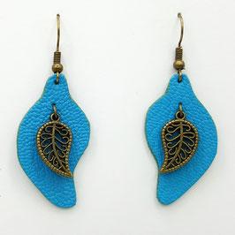 Turquoise Boucles d'Oreilles FEUILLES Bronze
