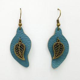Bleu Gris Boucles d'Oreilles FEUILLES  Bronze