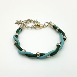 Bleu Clair et Vert  Bracelet PERLINETTE Enfant