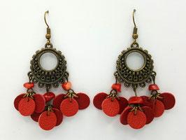 Corail, Rouge et Rouge clair Boucles d'Oreilles FARANDOLES  Bronze