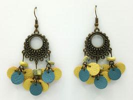 Turquoise jaune, cuir Jaune clair et Bleu gris Boucles d'Oreilles FARANDOLES Bronze