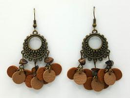 Œil de Tigre, Cuir Marron et Beige Boucles d'Oreilles FARANDOLES Bronze