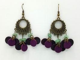 Aventurine verte, cuir Prune et Violet Boucles d'Oreilles FARANDOLES  Bronze