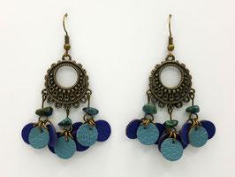 Chrysocolle, cuir Bleu et Bleu gris Boucles d'Oreilles FARANDOLES Bronze