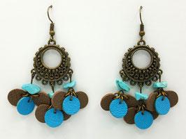 Turquoise, cuir Taupe et Turquoise Boucles d'Oreilles FARANDOLES Bronze