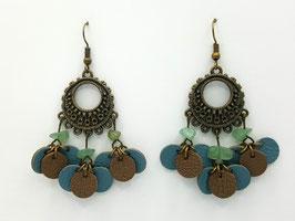Aventurine Verte, cuir Bleu gris et Taupe Boucles d'Oreilles FARANDOLES Bronze