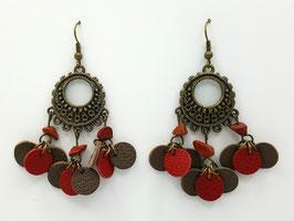 Jaspe Rouge, cuir Taupe et Rouge Boucles d'Oreilles FARANDOLES Bronze