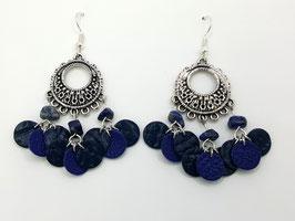 Lapis Lazuli , cuir Bleu Marine et Bleu Boucles d'Oreilles FARANDOLES Argenté