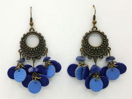 Sodalite, Cuir Bleu et Bleu clair Boucles d'Oreilles FARANDOLES Bronze