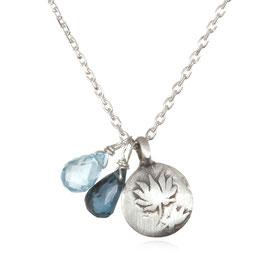 SATYA Halskette Blauer Topaz - Lotus