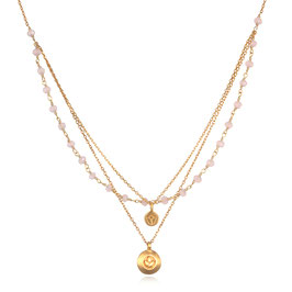 SATYA Halskette Rosa Chalcedon - Lotus