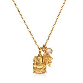 SATYA Halskette Rosenquarz - Ganesha Hamsa