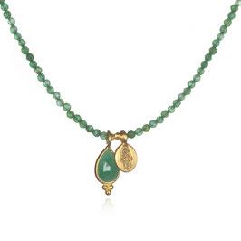 SATYA Halskette Grüner Onyx Smaragd - Hamsa