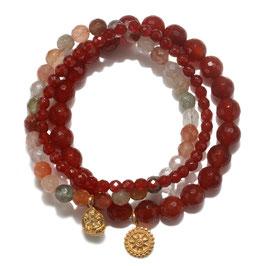 SATYA Stretcharmband Carneol - Ganesha - Mandala