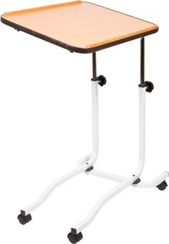 Beistelltisch, Rollbarer Bett-Tisch, weisser Rahmen, Arbeitsplatte neigbar, Höhenverstellung 72-115 cm