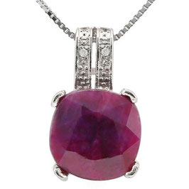 Anhänger Roseau, 925er Silber, 4,51 Kt. Rubin & Diamant, mit/ohne Kette wählbar