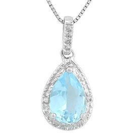 Anhänger Ottawa, 925er Silber, 2,35 Kt. Blautopas/Diamant, mit/ohne Kette wählbar