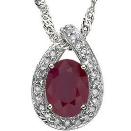 Anhänger Moroni, 925er Silber, 0,604 Kt. Rubin/Diamant, mit/ohne Kette wählbar