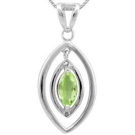 Anhänger Asmara, 925er Silber, 0,592 Kt. Peridot/Diamant, mit/ohne Kette wählbar